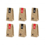 6 Sacchetti regalo Il Pirata rosso (18 cm) - Kraft
