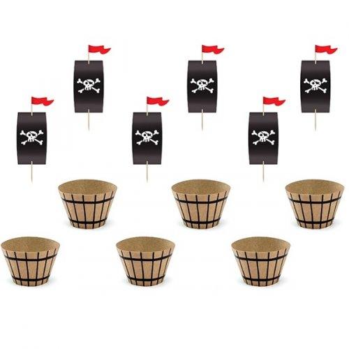 Kit 6 cupcake Il pirata rosso