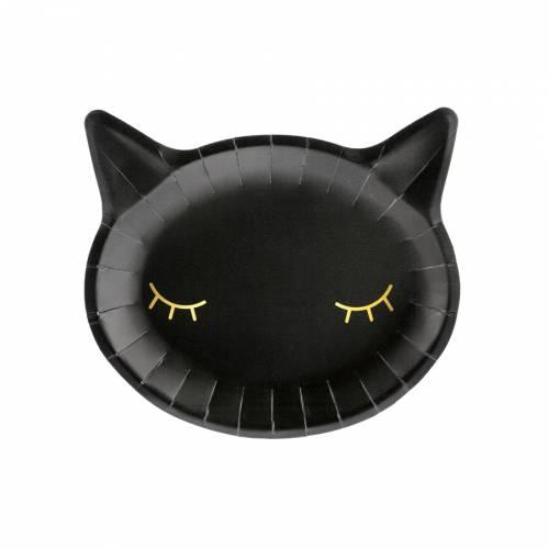 6 Piatti Gatto - Testa Gatto Nero