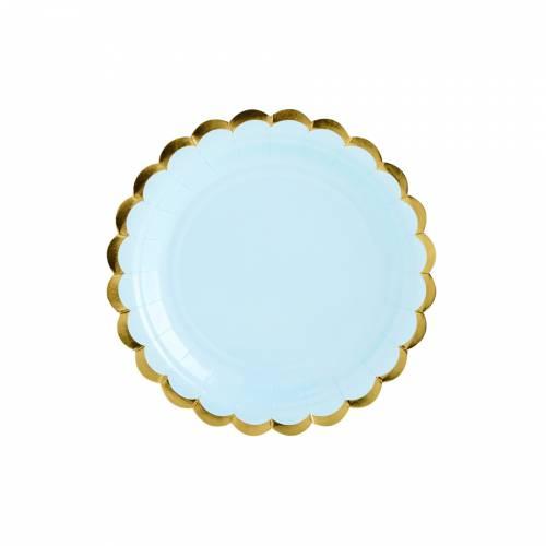 6 Piattini - Baby Blu/Oro