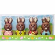 Set di 4 conigli 3D - Cioccolato (40 g)