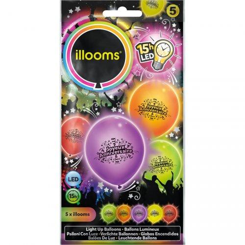 5 Palloncini Luminosi LED Buon Compleanno