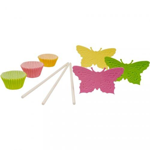 Kit 60 pirottini e decorazioni Torta Pop Butterflies