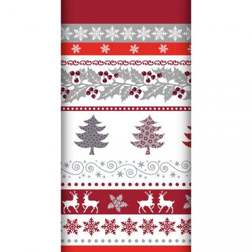 Tovaglia di Natale bordo Argento/Rosso
