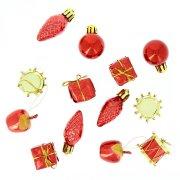13 Mini Decorazioni da appendere di Natale Rosse (2,5 cm)