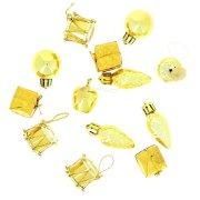 13 Mini Decorazioni da appendere di Natale Oro (2,5 cm)