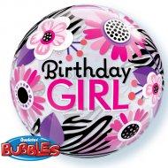 Palloncino Bubble piatto Birthday Girl