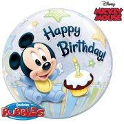 Palloncino Bubble piatto Mickey 1 anno