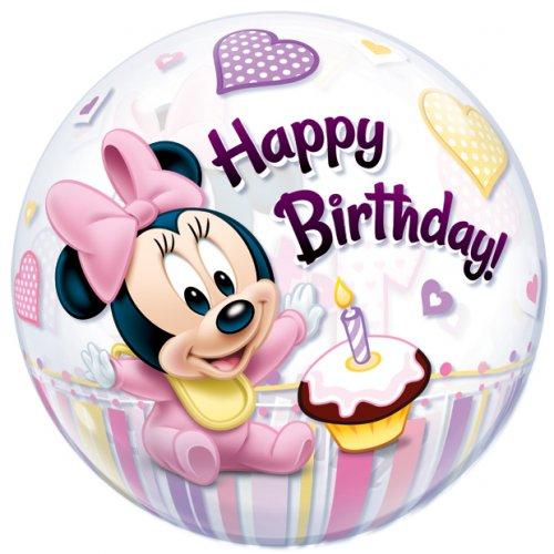 Palloncino Bubble piatto Minnie 1 anno