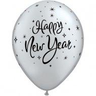 Lotto di 25 Palloncini Happy New Year Neri e Argentati