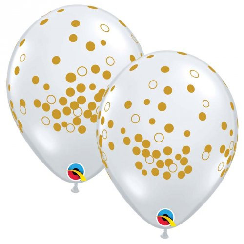 25 Palloncini Impressione coriandoli oro