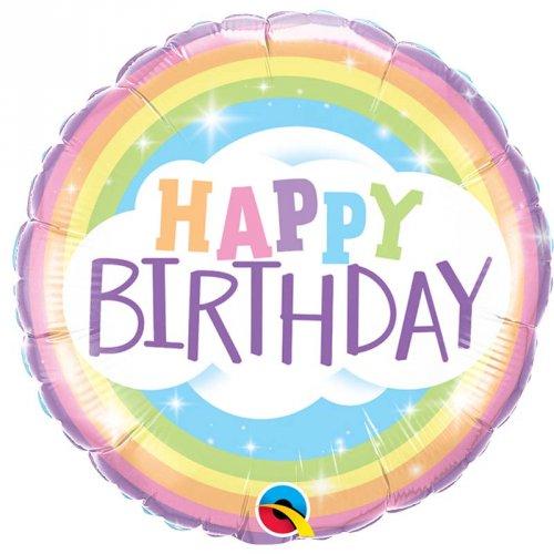 Palloncino piatto Happy Birthday Rainbow colori pastello