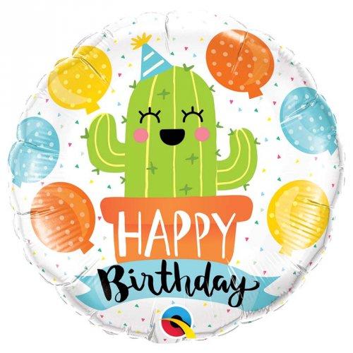 Palloncino piatto Cactus Kawaïï Happy Birthday