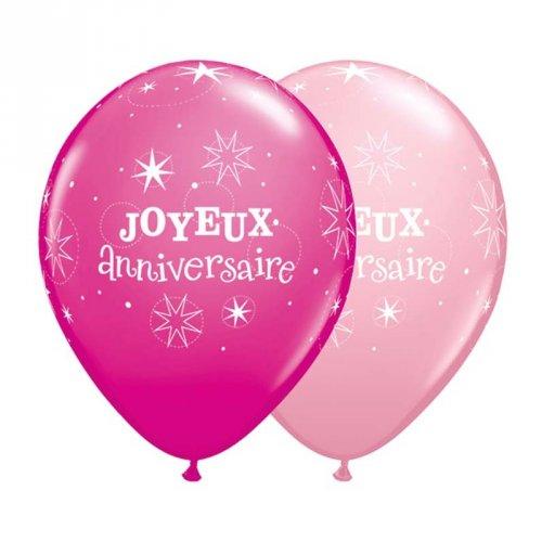 50 Palloncini Buon Compleanno Rosa/Fucsia