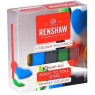 Confezione da 5 pasta di zucchero in colori primari Renshaw