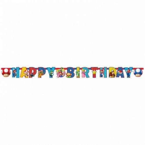 Ghirlanda Happy Birthday Mario Party (1,90 m)