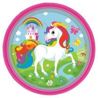 Contiene : 1 x 8 Piatti Unicorno Rainbow