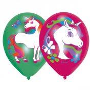 6 Palloncini Unicorno rosa/verde