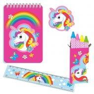 5 set di cancelleria Unicorn Rainbow Stationery Set di cancelleria Unicorn Rainbow