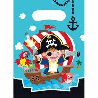 Contiene : 1 x 8 Sacchetti regalo Piccolo pirata e i suoi amici