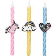 3 candele pastello unicorno