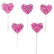5 mini candele cuore rosa glitter