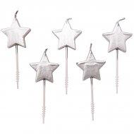 5 mini candele stelle d'argento