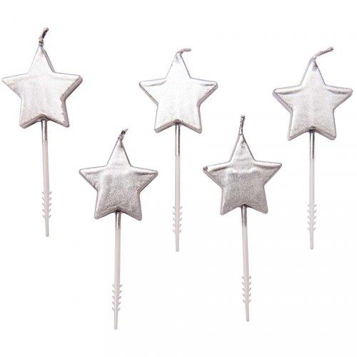 5 mini candele stelle d argento