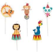 5 mini candele Circo animali