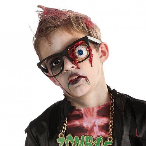 Occhiali da zombie con occhio strappato