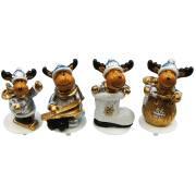 4 Stecchini Decorativi con Renne Oro/Argento (4 cm) - Poliresina