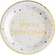 10 Piatti Buon Compleanno Laminati in oro