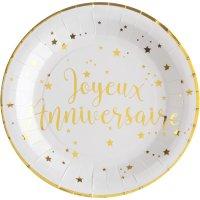 Contiene : 1 x 10 Piatti Buon Compleanno Laminati in oro