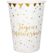 10 Bicchieri Buon Compleanno Laminati in Oro
