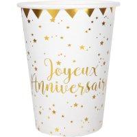 Contiene : 1 x 10 Bicchieri Buon Compleanno Laminati in Oro