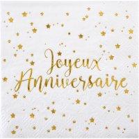 Contiene : 1 x 20 Tovagliolini Buon Compleanno Laminati in Oro