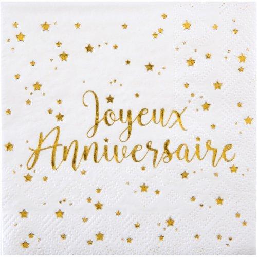 20 Tovagliolini Buon Compleanno Laminati in Oro