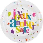 10 Piatti Buon Compleanno Multicolor