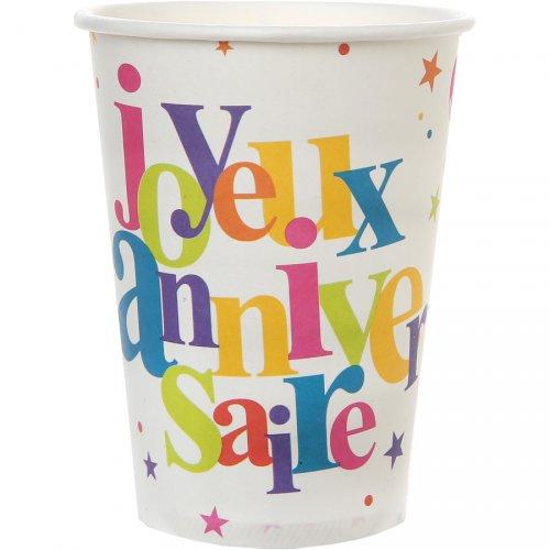 10 Bicchieri Buon Compleanno Multicolor