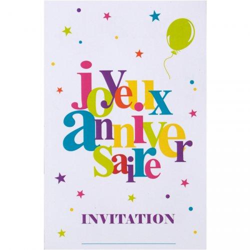 6 Biglietti inviti Buon compleanno Multicolore