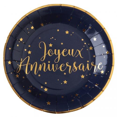10 Piatti Buon Compleanno Blu Notte