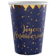 10 Bicchieri Buon Compleanno Blu Notte