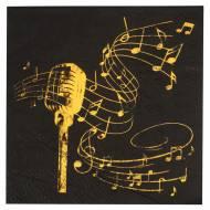 20 Tovaglioli Musica - Oro Nero