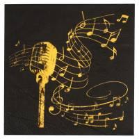 Contiene : 1 x 20 Tovaglioli Musica - Oro Nero