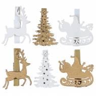 6 Mollette con Cervo Incantato Oro - Legno