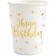 10 Bicchieri Happy Birthday Gold