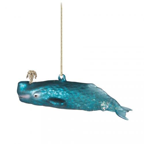 Addobbo Natalizio Delfino Beluga Blu (14 cm) - Vetro