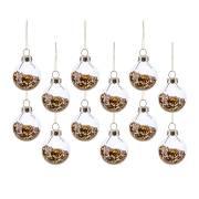 12 Mini Palle di Natale Dorate (3 cm) - Vetro