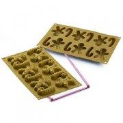 Stampo 12 Motivi Pupazzo Pan di Zenzero e Bastoncino di Zucchero (6 cm) - Silicone