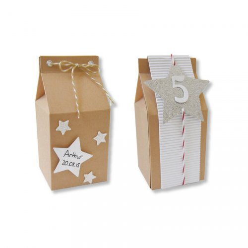 6 Scatole Tetrapack Piccole (7 cm) da Decorare - Cartone Grezzo
